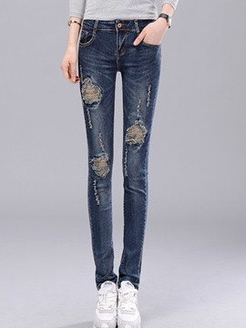 Worn-Out Denim Slim Patchwork Ripped Jeans