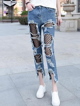 Slim Hollow Mesh Worn Straight Jeans