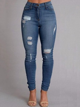 Skinny Worn Hole Patchwork Women's Ripped Jeans