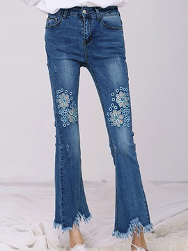 High-Waist Asymmetric Tassel Bellbottoms Jeans