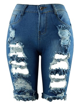 High-Waist Worn Hole Patchwork Jeans