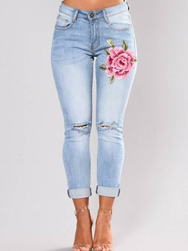 Hole Embroidery Pencil Pants Jeans