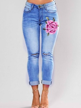 Hole Embroidery Pencil Pants Women's Jeans