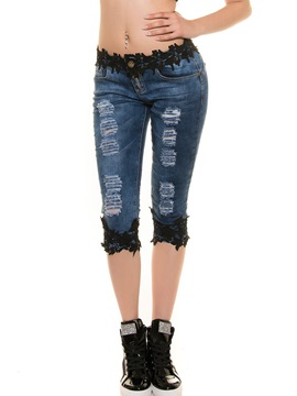 Skinny Mid-Waist Hollow Hole Patchwork Lace Jeans