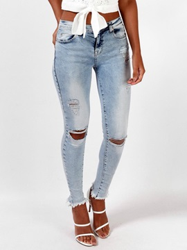 Mid-Waist Rough Selvedge Skinny Washable Ripped Jeans