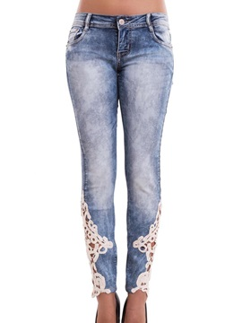 Skinny Low Waist Lacework Denim Women's Pencil Pants