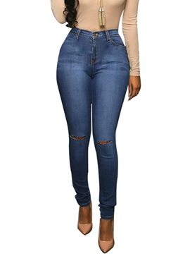 High-Waist Slim Denim Plain Women's Pencil Pants
