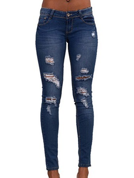 Plain Skinny Low-Waist Women's Ripped Jeans