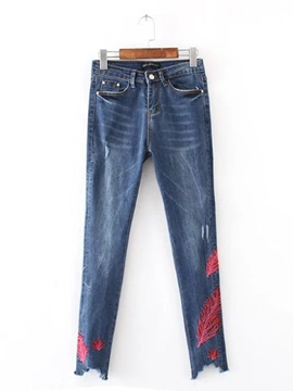 Feather Embroidery Slim Women's Jeans