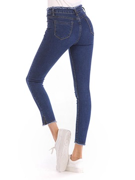 Slim Raw Hem Plain Tassel Women's Jeans