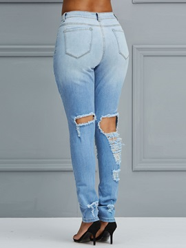 Hole Washable Worn Patches Women's Jeans