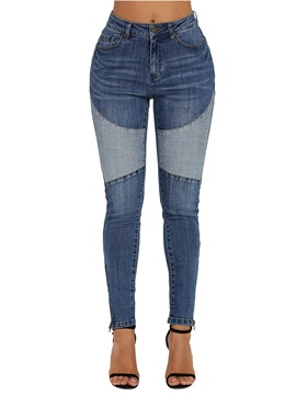 Slim Patchwork Color Block Women's Jeans
