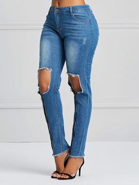 Knee Hole Worn Zipper Women's Jeans