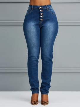 High-Wasit Slim Button Up Women's Jeans