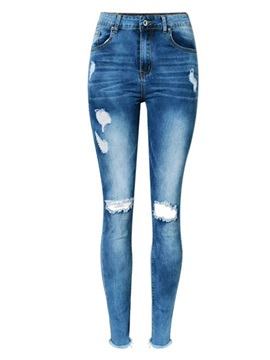 Hole Worn Skinny Raw Hem Women's Jeans