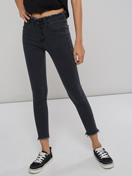 Raw Edge High Waist Skinny Women's Jeans