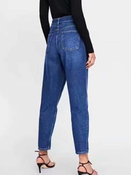 Slim Plain Straight Belt Women's Jeans