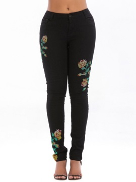 Pencil Pants Embroidery Floral Mid-Waist Slim Women's Jeans