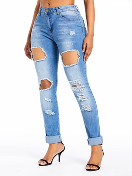 Plain Hole Elastics Slim Women's Jeans
