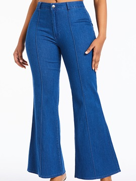 Plain Wide Legs Loose Denim Bellbottoms Women's Jeans