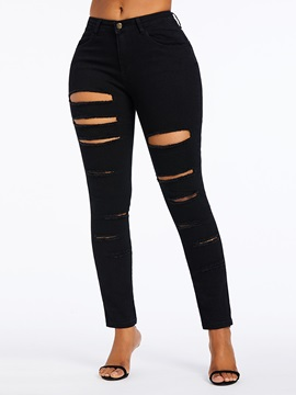 Pencil Pants Hole Plain High Waist Zipper Women's Jeans