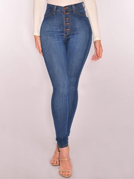 Pencil Pants Plain Button High Waist Women's Jeans