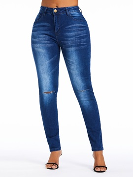 Plain Hole Pencil Pants High Waist Skinny Women