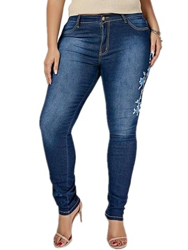 Embroidery Plus Size Floral Zipper Skinny Women's Jeans