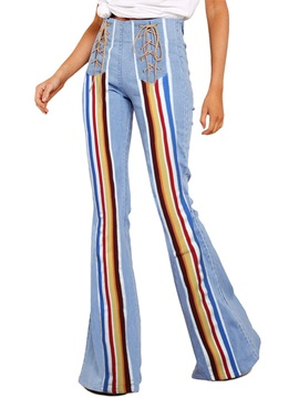 Washable Color Block Bellbottoms Slim Women's Jeans