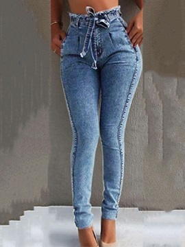 Plain Lace-Up High Waist Women's Jeans