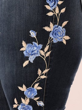 Pencil Floral Embroidery Skinny Zipper Women's Jeans