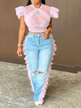 Straight Color Block See-Through High Waist Slim Women's Jeans