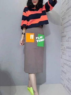 Stylish Stripe Printed Top & Lettered Patchwork Skirt Outfit