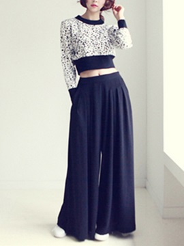 Elegant Patchwork Sweater & Wide-Leg Pant