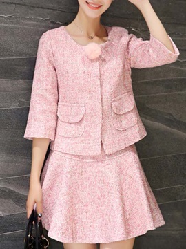 Stylish Woolen Two-piece  Skirt Outfit