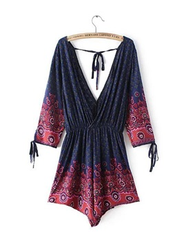 Plunging Neck Drawstring Romper