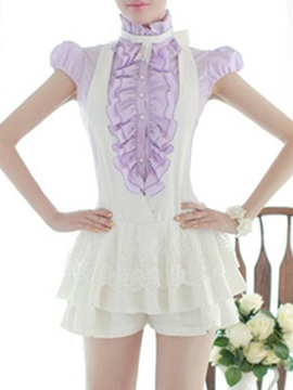 White Lace Patchwork Falbala Rompers