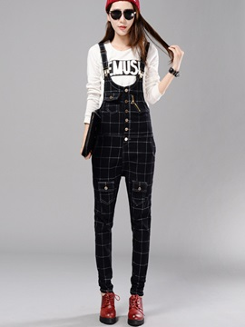 Plaid Printed Gallus Buckle Zipper Overalls