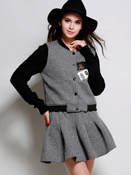 Buckle Patchwork Coat Pleated Winter Skirt 2-Piece Sets