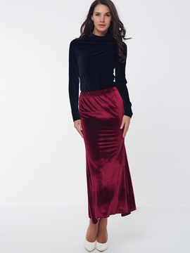 Velvet Black Long Sleeve Top Sheath Skirt