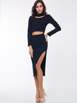 Black Halter Placketing 2-Piece Sets