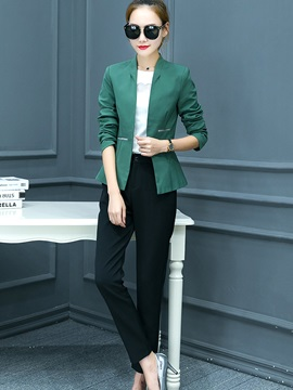 Contrast Color Wear To Work Coat Pants 2-Piece Sets