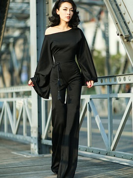 Boat Neck Black Elegant Women's Jumpsuits
