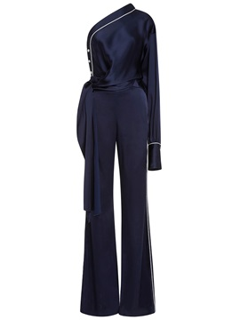 Plain Lace-Up Bellbottoms Jumpsuit
