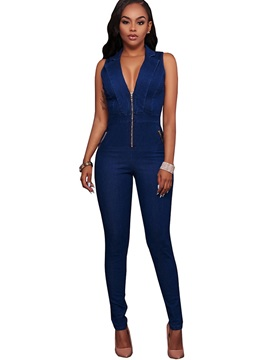 Euramerican Sexy Denim Sleeveless Slimming Jumsuits