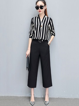 Stripe Patchwork Belt Print Wide Legs 2-Piece Sets