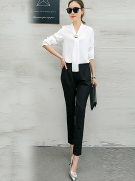 Plain Chiffon Shirt Patchwork Harem Pants 2-Piece Sets