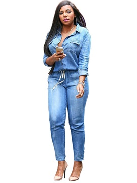 Skinny Plain Denim Patchwork Lace-Up Pocket Jumpsuits