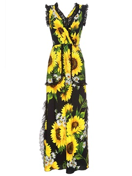 High-Waist Floral Backless Wide Legs Jumpsuits