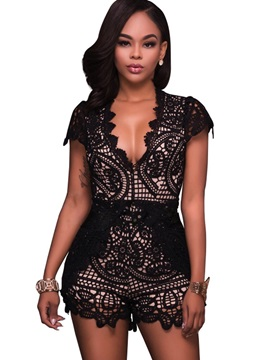 Stylish Slim Lace Hollow Patchwork Rompers